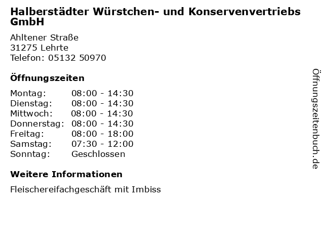 Halberstädter Würstchen- und Konservenvertriebs GmbH in Lehrte: Adresse und Öffnungszeiten
