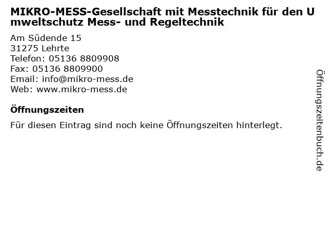 MIKRO-MESS-Gesellschaft mit Messtechnik für den Umweltschutz Mess- und Regeltechnik in Lehrte: Adresse und Öffnungszeiten