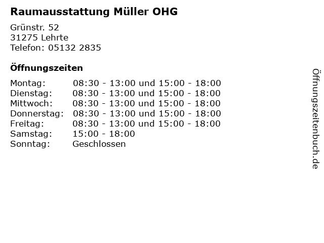 Raumausstattung Müller OHG in Lehrte: Adresse und Öffnungszeiten