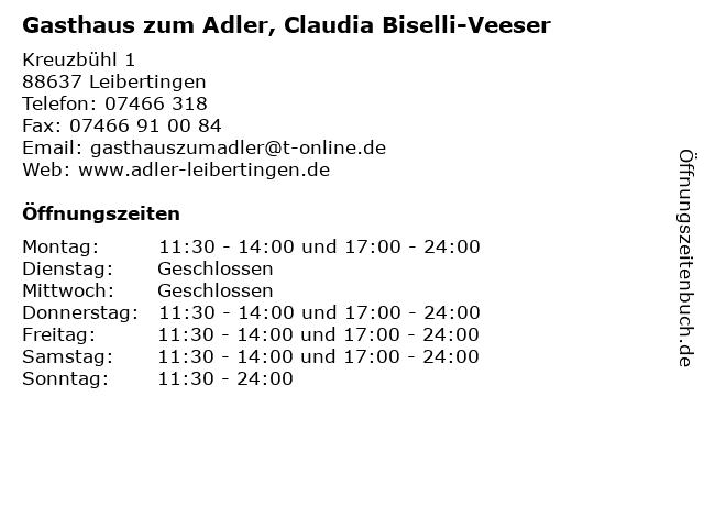 Gasthaus zum Adler, Claudia Biselli-Veeser in Leibertingen: Adresse und Öffnungszeiten