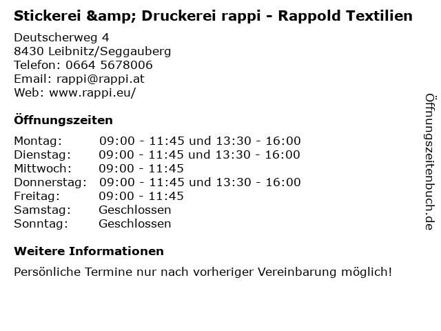 Stickerei & Druckerei rappi - Rappold Textilien in Leibnitz/Seggauberg: Adresse und Öffnungszeiten