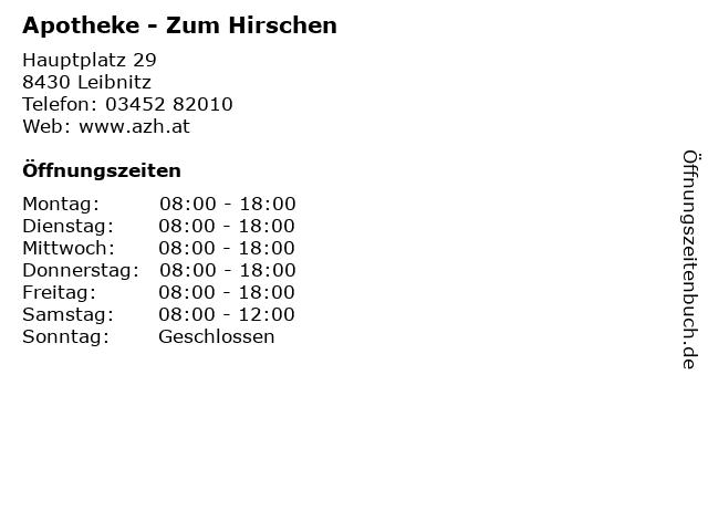 Apotheke - Zum Hirschen in Leibnitz: Adresse und Öffnungszeiten