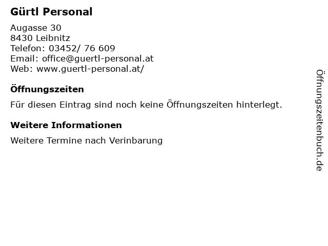 Gürtl Personal in Leibnitz: Adresse und Öffnungszeiten