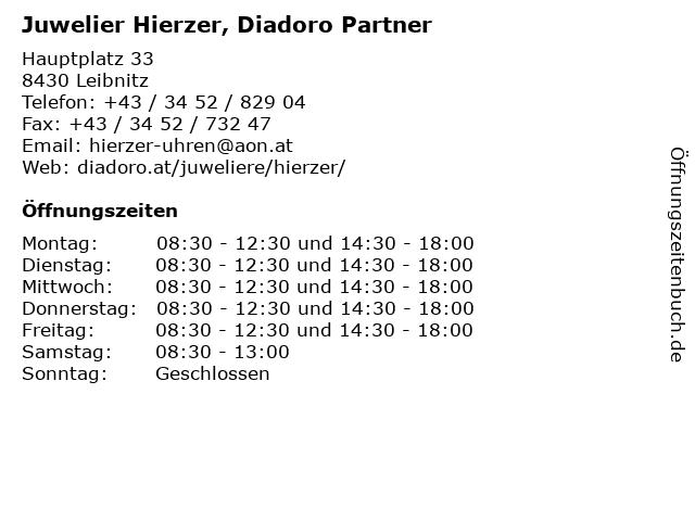 Juwelier Hierzer, Diadoro Partner in Leibnitz: Adresse und Öffnungszeiten