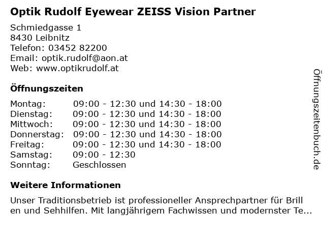 Optik Rudolf Eyewear ZEISS Vision Partner in Leibnitz: Adresse und Öffnungszeiten