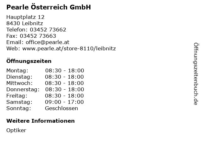 Pearle Österreich GmbH in Leibnitz: Adresse und Öffnungszeiten