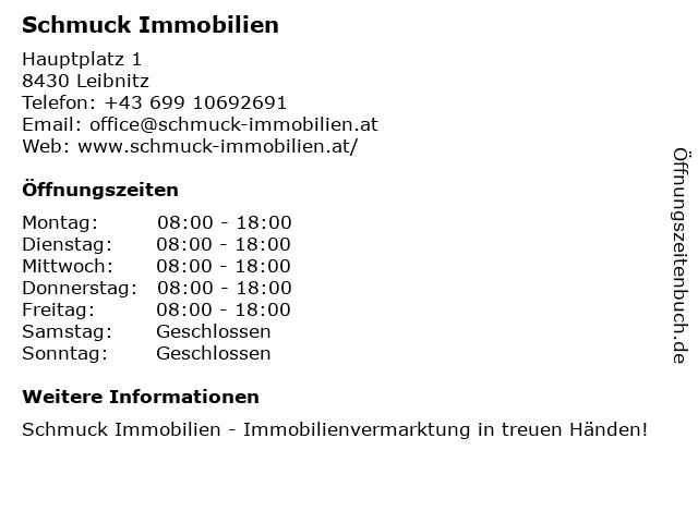 Schmuck Immobilienconsulting Inh. Alexander Schmuck in Leibnitz: Adresse und Öffnungszeiten