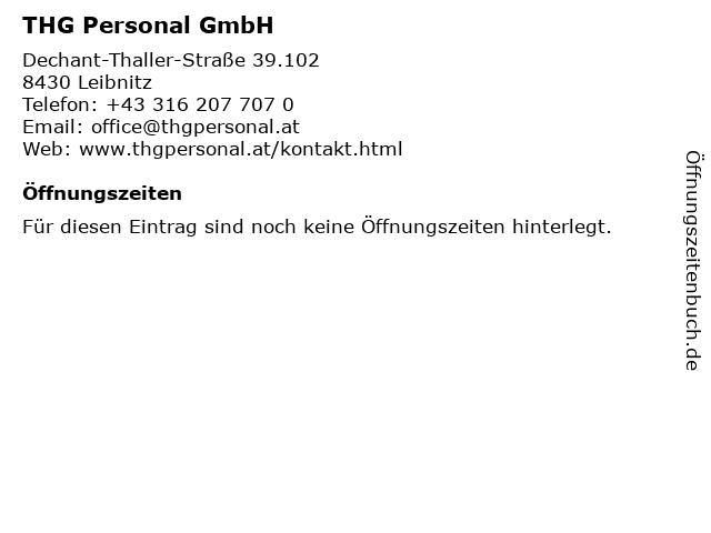 THG Personal GmbH in Leibnitz: Adresse und Öffnungszeiten