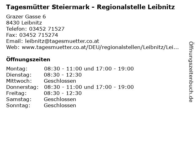 Tagesmütter Steiermark - Regionalstelle Leibnitz in Leibnitz: Adresse und Öffnungszeiten