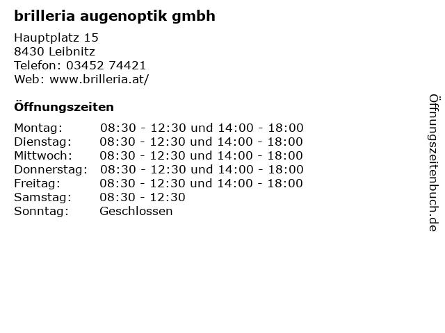 brilleria augenoptik gmbh in Leibnitz: Adresse und Öffnungszeiten