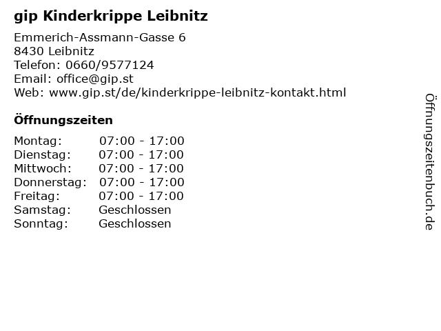 gip Kinderkrippe Leibnitz in Leibnitz: Adresse und Öffnungszeiten