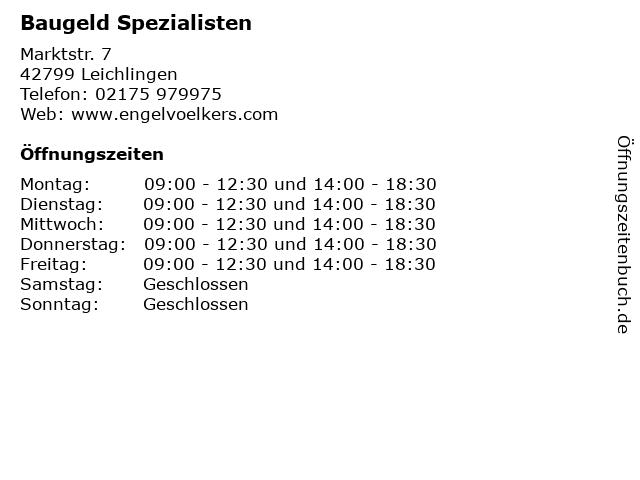 Baugeld Spezialisten in Leichlingen: Adresse und Öffnungszeiten