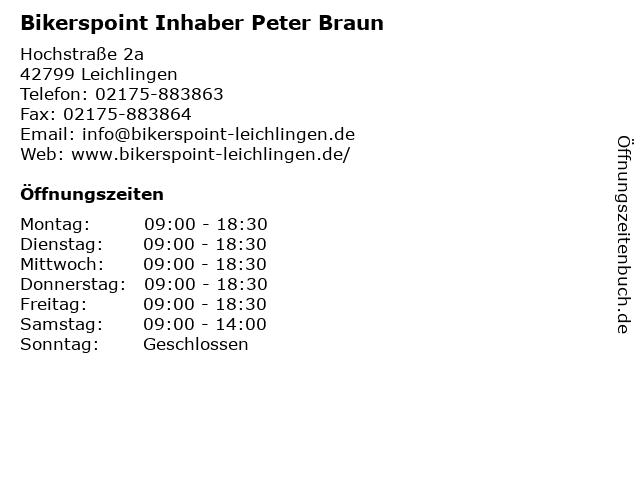 Bikerspoint Inhaber Peter Braun in Leichlingen: Adresse und Öffnungszeiten