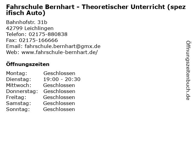 Fahrschule Bernhart - Theoretischer Unterricht (spezifisch Auto) in Leichlingen: Adresse und Öffnungszeiten