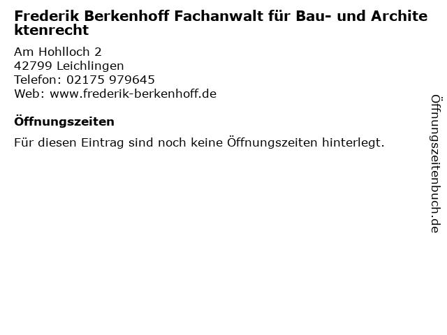 Frederik Berkenhoff Fachanwalt für Bau- und Architektenrecht in Leichlingen: Adresse und Öffnungszeiten