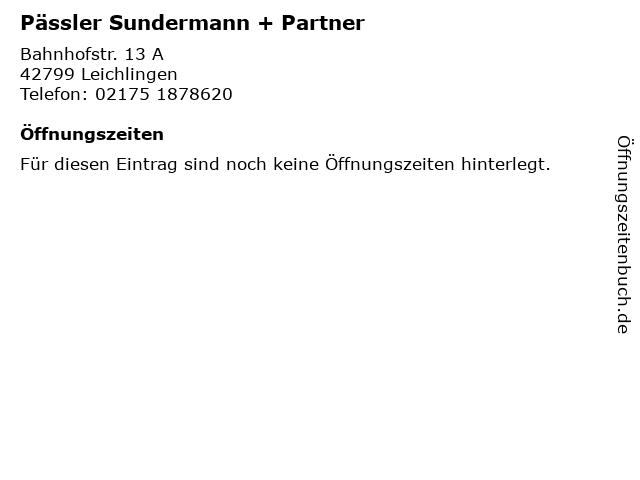 Pässler Sundermann + Partner in Leichlingen: Adresse und Öffnungszeiten