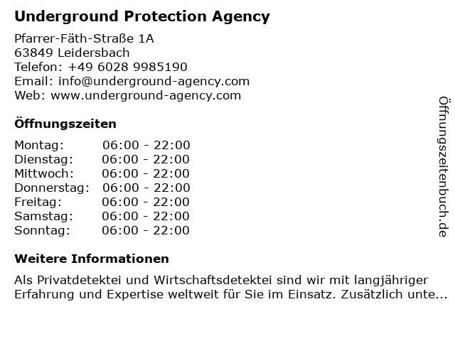 Underground Protection Agency in Leidersbach: Adresse und Öffnungszeiten