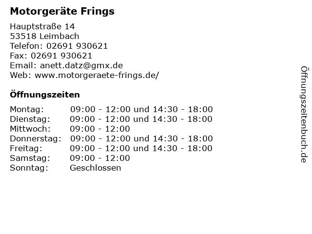 Motorgeräte Frings in Leimbach: Adresse und Öffnungszeiten
