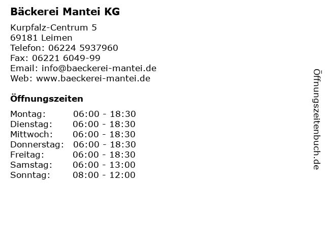Bäckerei Mantei KG in Leimen: Adresse und Öffnungszeiten