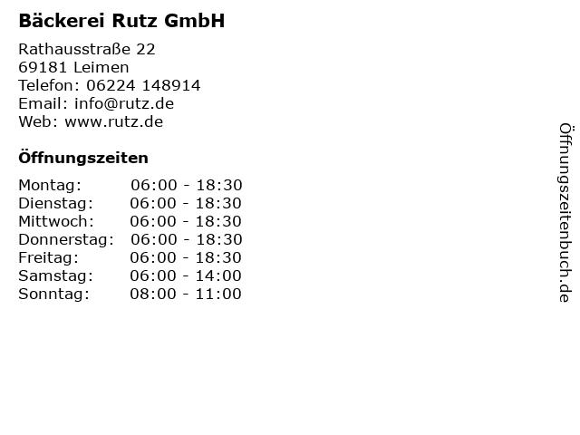 Bäckerei Rutz GmbH in Leimen: Adresse und Öffnungszeiten