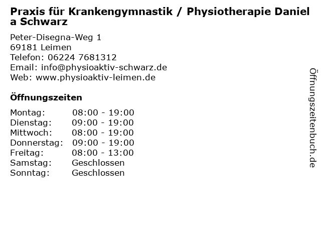 Praxis für Krankengymnastik / Physiotherapie Daniela Schwarz in Leimen: Adresse und Öffnungszeiten