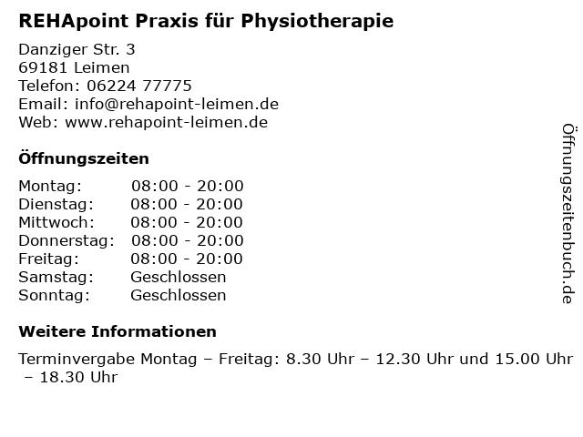 REHApoint Praxis für Physiotherapie in Leimen: Adresse und Öffnungszeiten