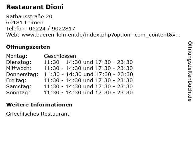 Restaurant Dioni in Leimen: Adresse und Öffnungszeiten