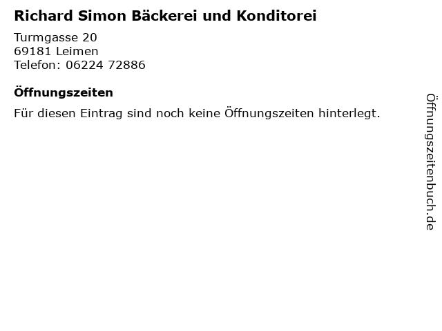 Richard Simon Bäckerei und Konditorei in Leimen: Adresse und Öffnungszeiten