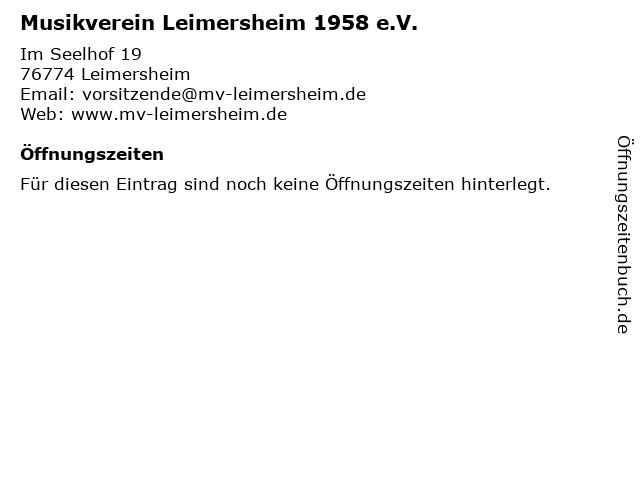 Musikverein Leimersheim 1958 e.V. in Leimersheim: Adresse und Öffnungszeiten