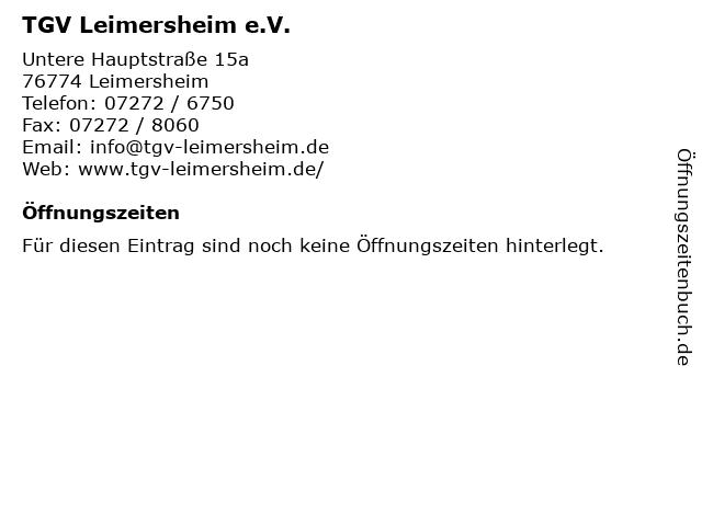 TGV Leimersheim e.V. in Leimersheim: Adresse und Öffnungszeiten