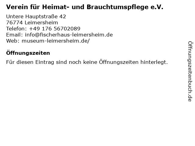 Verein für Heimat- und Brauchtumspflege e.V. in Leimersheim: Adresse und Öffnungszeiten