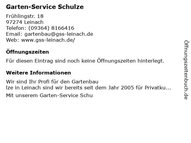 Garten-Service Schulze in Leinach: Adresse und Öffnungszeiten