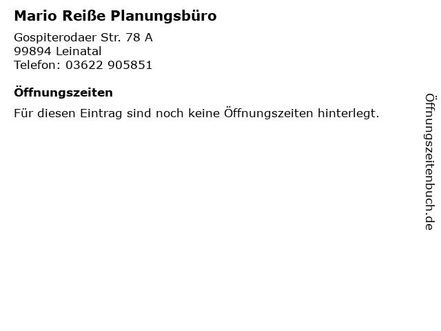 Mario Reiße Planungsbüro in Leinatal: Adresse und Öffnungszeiten