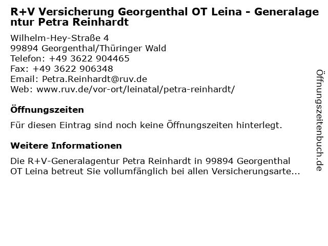 R+V Versicherung Leinatal - Generalagentur Petra Reinhardt in Leinatal: Adresse und Öffnungszeiten