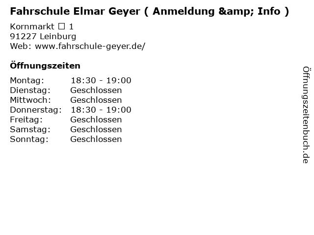 Fahrschule Elmar Geyer ( Anmeldung & Info ) in Leinburg: Adresse und Öffnungszeiten