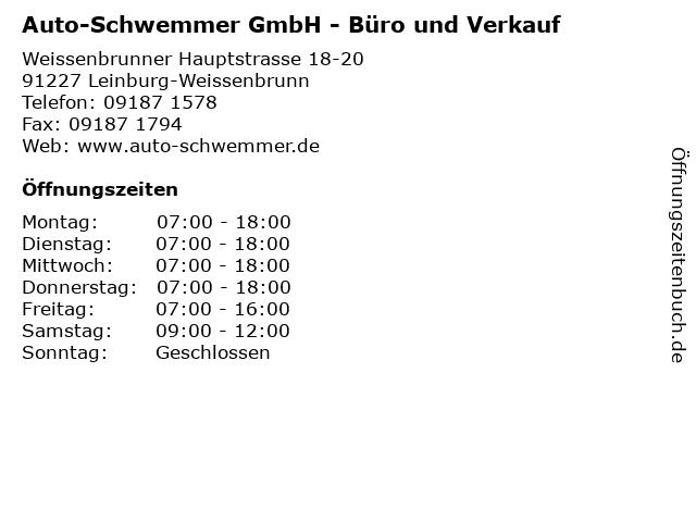Auto-Schwemmer GmbH - Büro und Verkauf in Leinburg-Weissenbrunn: Adresse und Öffnungszeiten
