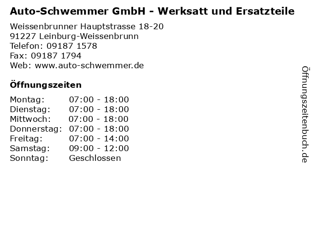 Auto-Schwemmer GmbH - Werksatt und Ersatzteile in Leinburg-Weissenbrunn: Adresse und Öffnungszeiten