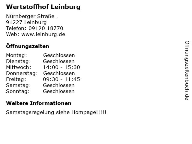 Wertstoffhof Leinburg in Leinburg: Adresse und Öffnungszeiten