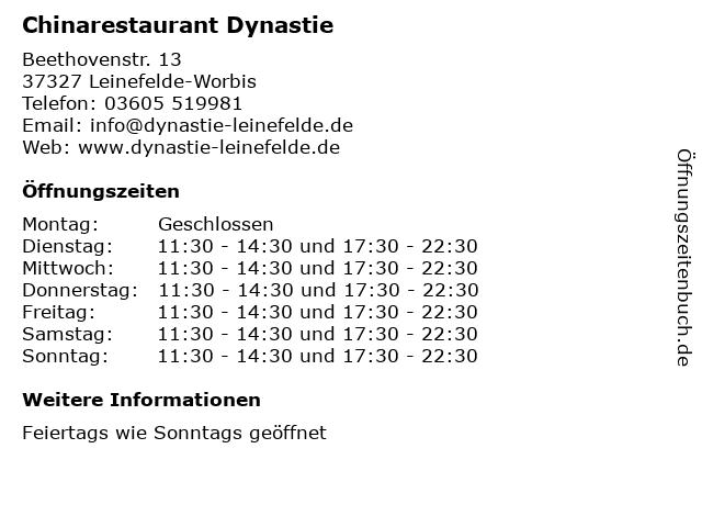 Chinarestaurant Dynastie in Leinefelde-Worbis: Adresse und Öffnungszeiten