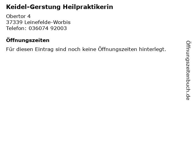 Keidel-Gerstung Heilpraktikerin in Leinefelde-Worbis: Adresse und Öffnungszeiten