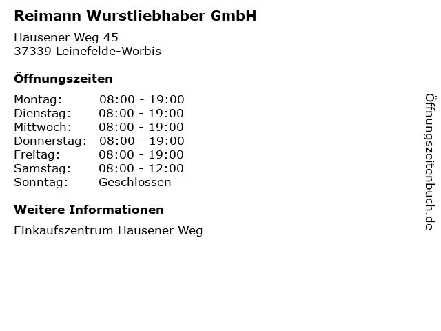 Reimann Wurstliebhaber GmbH in Leinefelde-Worbis: Adresse und Öffnungszeiten