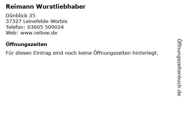 Reimann Wurstliebhaber in Leinefelde-Worbis: Adresse und Öffnungszeiten