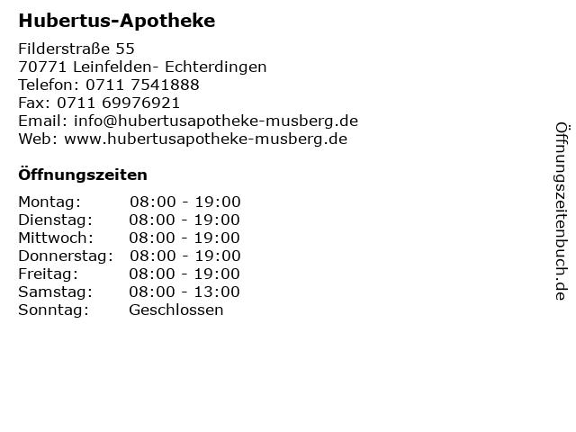 Hubertus-Apotheke in Leinfelden- Echterdingen: Adresse und Öffnungszeiten