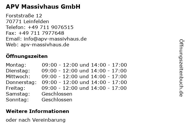 APV Massivhaus GmbH in Leinfelden: Adresse und Öffnungszeiten