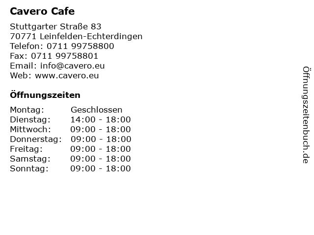 Cavero Cafe in Leinfelden-Echterdingen: Adresse und Öffnungszeiten