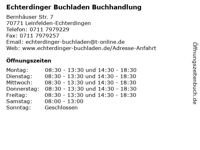 Echterdinger Buchladen Buchhandlung in Leinfelden-Echterdingen: Adresse und Öffnungszeiten