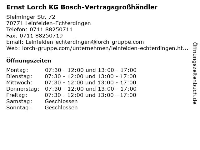 Ernst Lorch KG Bosch-Vertragsgroßhändler in Leinfelden-Echterdingen: Adresse und Öffnungszeiten