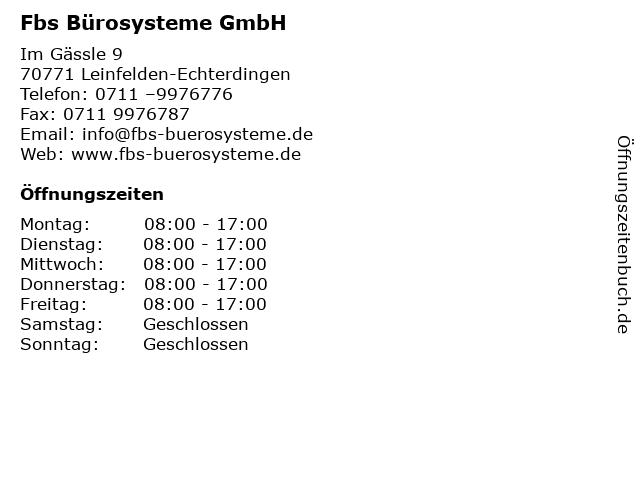 FBS Bürosysteme in Leinfelden-Echterdingen: Adresse und Öffnungszeiten