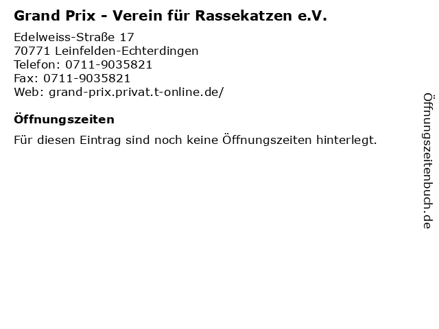 Grand Prix - Verein für Rassekatzen e.V. in Leinfelden-Echterdingen: Adresse und Öffnungszeiten