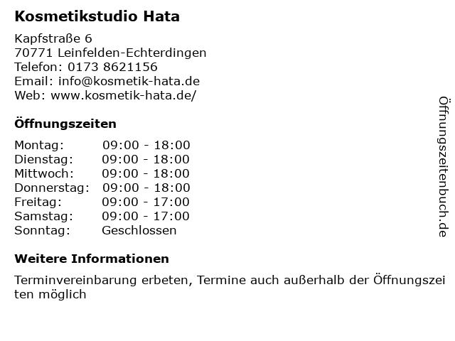 Kosmetikstudio Hata in Leinfelden-Echterdingen: Adresse und Öffnungszeiten